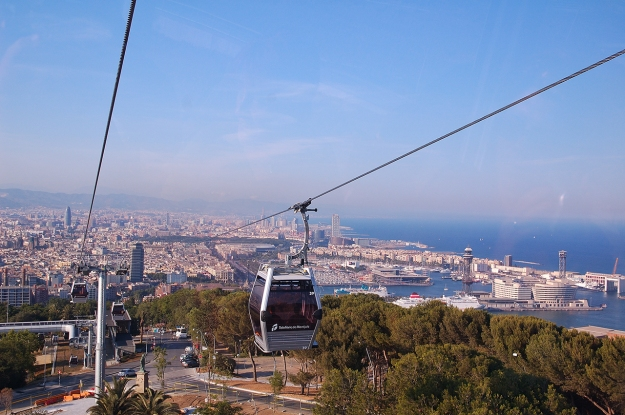 barceloneta-view-montjuic-beach-district-barcelona-cablecar-teleferico